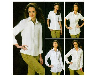 Women's Shirt Sewing Pattern, Fitted, Princess Seams, Collar, Yokes, Button Front, Long / Short Sleeve, Size 6, 8, 10, 12, UNCUT Vogue V8689