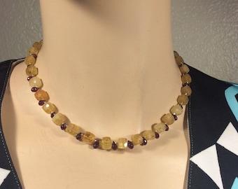 Anne Choi Porte Bonheur-Heliodor-Golden Beryl-Rhodalite Garnet Necklace-Push Clasp for pendant-16 inch-Fine Sterling-Gemstone