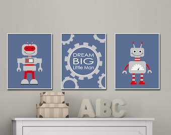 Robot Wall Art, Boys Bedroom Art, Space Wall Art With Dream Big Little One