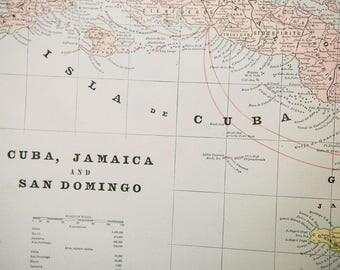 Antique 1893 Crams Map of Cuba, Jamaica & San Domingo.