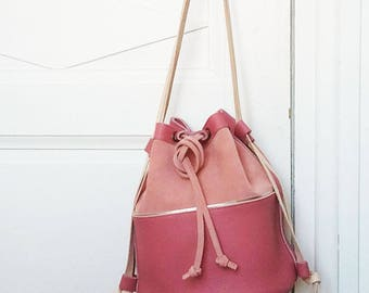 Leather handbag, leather bucket bag, leather backpack, genuine pink leather, soft nude suede leather, cotton lining, pocket, leather string