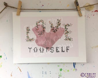 Floral Love yourself print. Children, motif, home and living deco, for her, kids, children, nursery, Valentines day, pink, birthday, girls