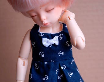 BJD YoSD Dress {Blue With Anchors}