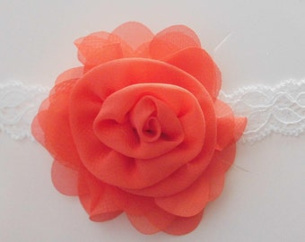 Coral Flower and White Lace Headband