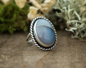 Classic Ring, Sterling Silver and Agate, Size 5.75
