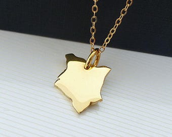 14K Gold Plated Kenya  Necklace - Kenya  Map Necklace -  Yellow Gold Necklace - Love Kenya Necklace