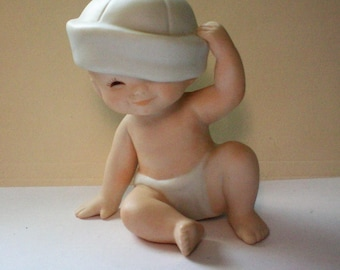 Bisque Baby in Hat Figurine, 1984 - 5396