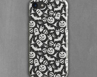 White Halloween Phone Case, Accessories, iPhone 8, 7 Plus, 6s, SE, Galaxy S8 Plus, Note 5, Clear S7 Case, S7 Edge, S6, Pumpkin, Skull