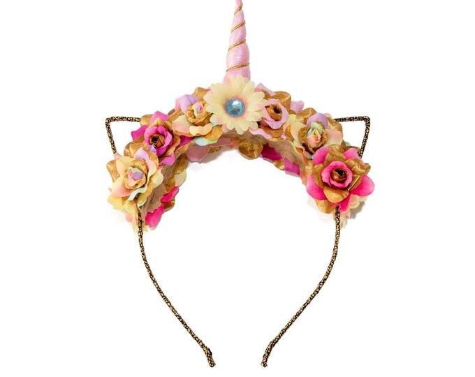 Pink Pastel Rainbow Mewnicorn Cat Ear Headband