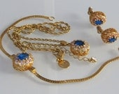 RESERVED* Vintage French AdF Jewelry 3-pcs Set Swarovski Crystals