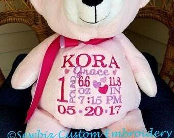 Personalized Pink Bear Stuffed Animal embroider bear
