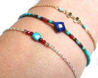 "Bracelet ""Indy"", Lapis lazuli, Turquoise, coral, 925 sterling silver."