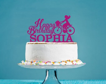 Bicycle Custom Cake Topper, Personalized Cake Topper, Birthday Cake Topper, Party Decor Topper, Acrylic Cake Topper - AT077