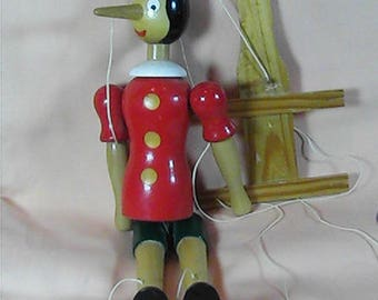 Vintage Italian Pinocchio Marionette, Wooden Marionette, Handmade, Artist Signed, Collectible Marionette