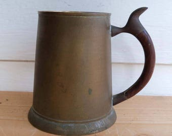 Vintage Brass with Wood Handle Mug/Stein