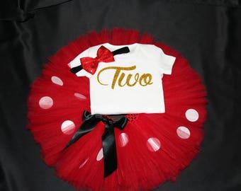 Red Minnie Mouse Tutu Set,  Girls Birthday Set, 2nd Birthday Outfit, Minnie Mouse Tutu Set, Second Bday Outfit, Girls Birthday shirt & Tutu