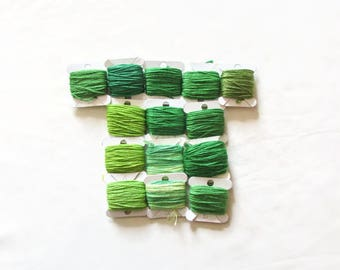 Embroidery thread bundle, green thread, mixed green embroidery cotton, stranded embroidery floss, cross stitch supplies, stranded cotton