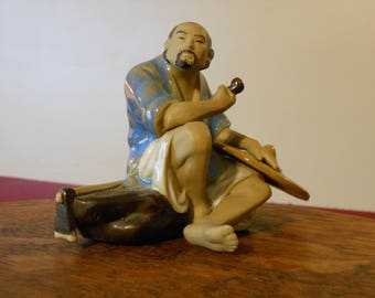Mudmen Farmer Clay Figurine. Shiwan Pottery.