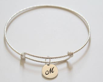 Sterling Silver Bracelet with Sterling Silver Cursive M Letter Charm, Bracelet with Silver Letter M Pendant, Initial M Charm Bracelet, M