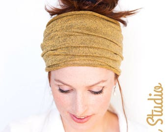 Mustard Yellow Headband Knit Headband Wide Headband Tube Headband Workout Headband Chemo Headband Running Headband Winter Hat Warm Headcover