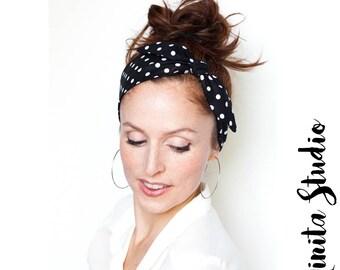 Black Polka Dot Headband  Dolly Bow Rockabilly Black and White Pinup Bandana Retro Hair Accessories Vintage Hair Scarf Style iiSuperwomanII