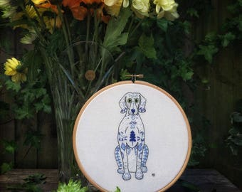 Weimaraner embroidery kit, mothers day gift, hand embroidery, sewing kit, dog design, sewing gift, embroidery pattern, embroidery hoop art