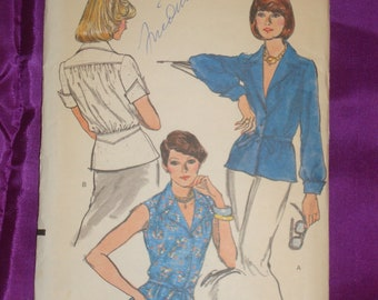 70s Vintage Blouse Gathered to Back Yoke n Shaped Waistband Peplum Front Tie Belt Notched Collar 3 Vws UNCUT Vogue 8917 Bust 32.5 US 83 Cm