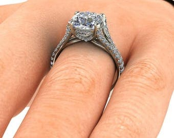 Forever One Engagement Ring, 8mm, 2.5 Carat, Cushion Cut Forever One Moissanite, 18k White Gold, 76 Diamonds| Contemporary Engagement Ring