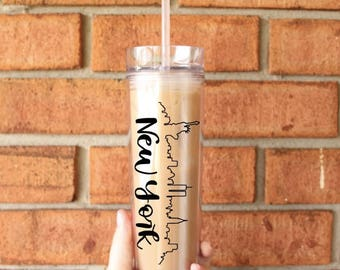 New York Skyline Tumbler | New York City, New York | Tall Skinny Coffee Tumbler | Iced Coffee Cup | Southern Sweetheart Gifts