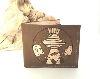 Mens leather wallet / spaceship wallet / alien wallet /  gift for him