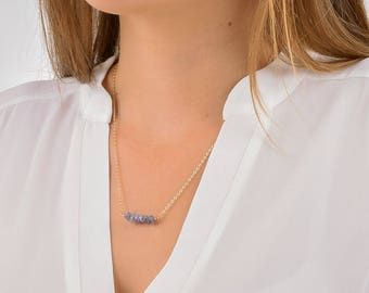 Raw Tanzanite Bar Necklace / Rough Tanzanite Bar Necklace / Dainty Gem Bar / Simple Tanzanite Necklace / Layering Necklace / Gifts for Her