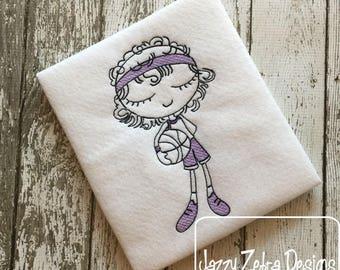 Swirly girl basketball player sketch embroidery design - basketball embroidery design - sketch embroidery design - sport embroidery design