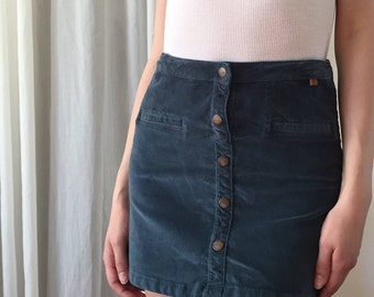 Suede button-up skirt