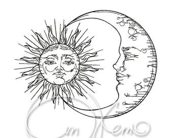 MACHINE EMBROIDERY DESIGN - Sun and moon