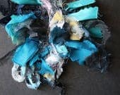 Blue silk handwoven neckl...