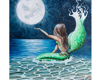 Full moon mermaid wall art, mermaid beach painting art, Original mermaid art by Nancy Quiaoit.