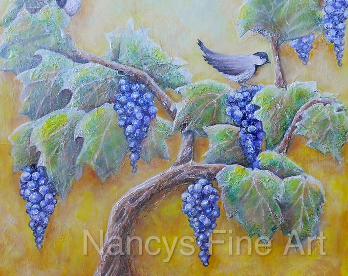 Original wine painting, grape vine painting, birds on grape vine art, 16x20 canvas painting by Nancy Quiaoit