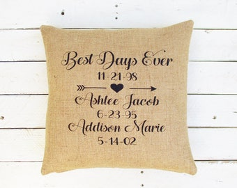 Anniversary Pillow, Gifts for her, Wedding Day Pillow, Wedding gift, Custom Burlap Pillow, Personalized Pillow, Best Days Burlap Pillow