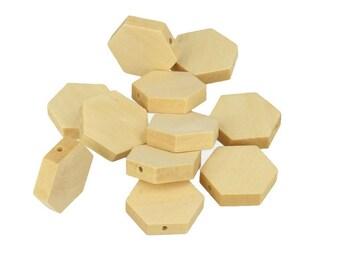Natural wooden hexagonal beads 20x5mm 20pcs