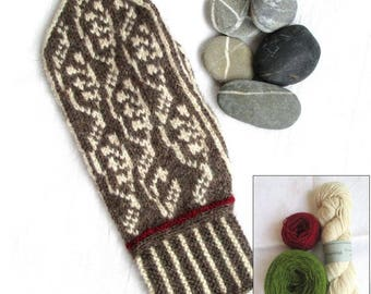 Lingonberry Mittens, make-your-own kit, grass green/offwhite/red, wool angora yarn, pattern included, Made in Sweden, mitten knitting kit