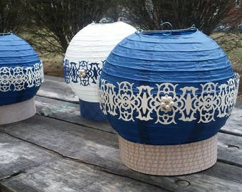 Navy cream centerpiece with intricate design for Weddings bridal showers and more custom colors available footed paper lantern