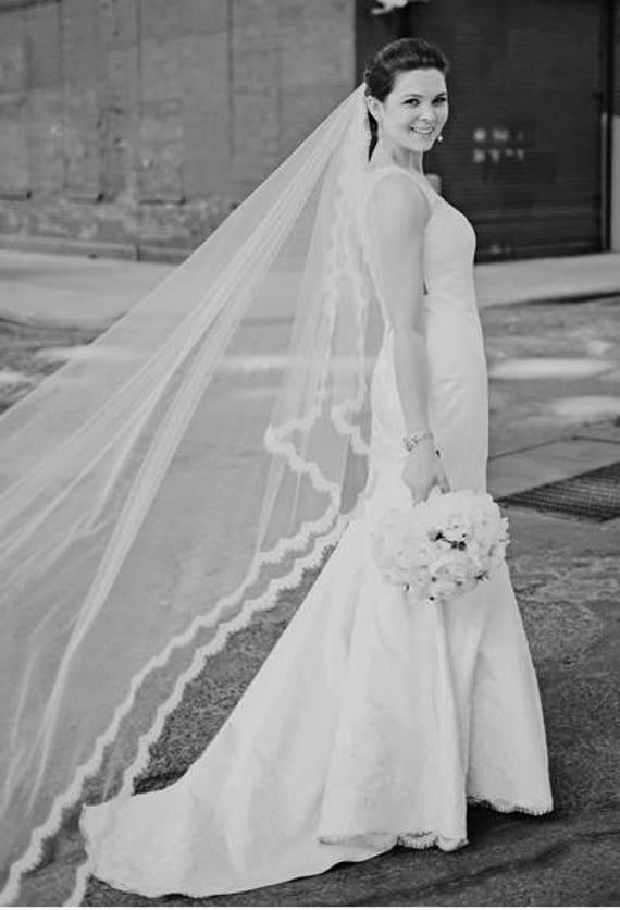 Lace Wedding Veil, French Alencon Lace Veil, Wedding Veil, Cathedral Veil, 2 -Tier Veil, Lace Veil,Soft Tulle Veil - ADAGIO Veil