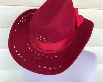 Vintage Red Cowgirl Hat/Nancy Hughes Hat Co./Size Medium/Wool Felt/Made in USA/1970s 80s/Braided Band/Removable Ribbon Bow