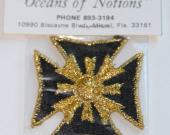 Vintage Maltese Cross Badge Applique, NOS, Original Packaging, Iron-on or Sew-on, Black & Metallic Gold
