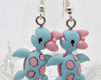 Turtle Earrings, Sea Turtle Jewellery, Turtle Danglers, Turtle Droppers, Blue Turtle Earrings, Gift for Her, Nautical Jewellery