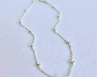 Sterling Silver Satellite Chain Anklet, Sterling Silver Anklet, Anklet, Deicate