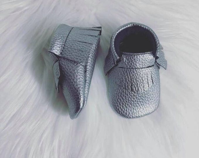 Charcoal Vegan Leather Baby Moccasins
