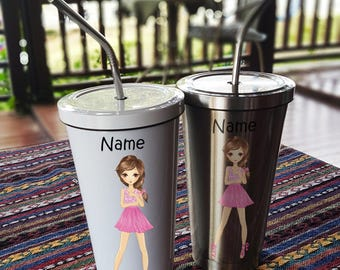 Girl Style 5 Stainless Steel Tumbler 16 OZ with Straw, Stainless Tumbler with Custom Name, Stainless Steel Travel Mug
