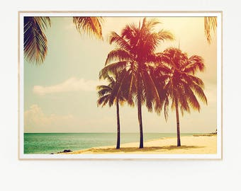 Palm Trees Wall Decor Print Poster Tropical Beach Marine Retro Vintage Colour Photo Nature Sea Minimalist Blue Sky Leaf Sun Photography 1021