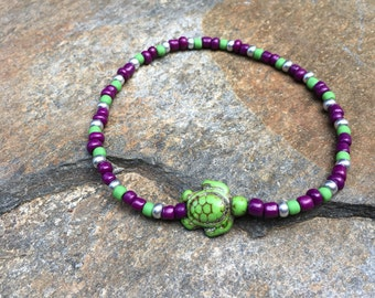 purple green & silver beaded anklet stone sea turtle jewelry bohemian stretch ankle bracelet yoga surfer mens women's anklet ankle bracelet